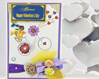 Personalized card of love for Valentines day, Birthday, Engagement with bicycle and real flowers. Multiligual, Custom card.