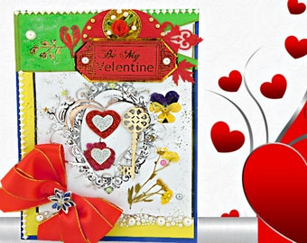 Personalized Love Card with real Forget Me Not flowers for Wife, Girlfriend, Partner.Modern Custom card with red satin ribbon and brooch.