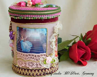 "Fantasy storage box ""Cinderella"". Girl organizer. Little princess stash box. Kids room box. Gift room storage. Memory box for kids."