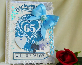 Anniversary card. Wedding Anniversary. 60th Anniversary. 65 Anniversary.  Personalised card. Couple anniversary. Parents Anniversary.