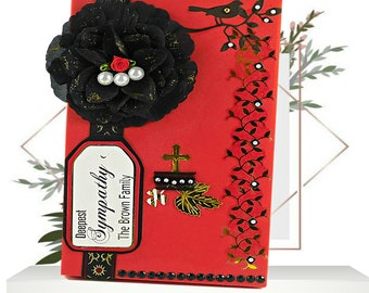 Memorial box. Custom red box with black rose and pearls to send family support for pregnancy loss, death of sibling, Mom, Dad. Gold wording.