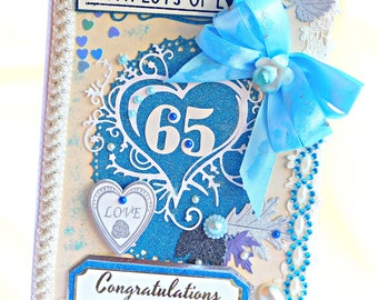Personalized Anniversary card. Sapphire Blue greeting card for milestone wedding. Custom card in a box laid with lace, pearls, gemstones.