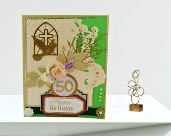 Personalized Birthday card. Custom, gold foiled, multilingual card for faithful Christian. 50 Birthday for Pastor, Priest, Church Community.