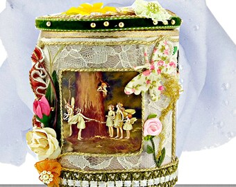 """Keepsake box for girls. Easter gift box """" Flower Fairies"""" with lace and pearls. Luxury wrapped box with personalized event tag."""