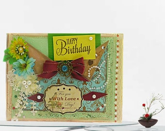 Happy Birthday cards. Autumn colors, Custom Birthday card for woman, Mom, Sister, Best Friend. Embossed card with foiled inside lettering.