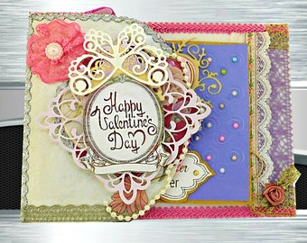 Romantic card for couple Love Ever After. Modern Retro card of love in sky blue and gold. Custom, Personalized, Multilingual card.