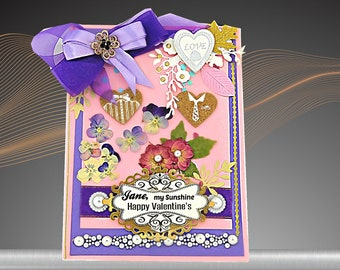 Personalized, Love card For My Sunshine in pastel pink with purple ribbon and a brooch. Elegant card for Wife, Girlfriend, Partner. Boxed.