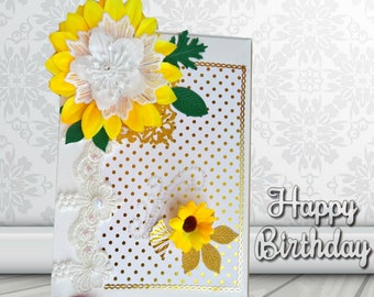Cards box. Sunflowers. Handmade gift box. Birthday gift. Round anniversary. Sentimental gift. Special gift. Flower box.