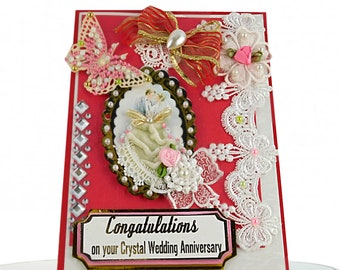 Custom Anniversary card for couple, friends. Personalized 3D card in ruby red with lace, gold and gems in retro style, BodArt design.