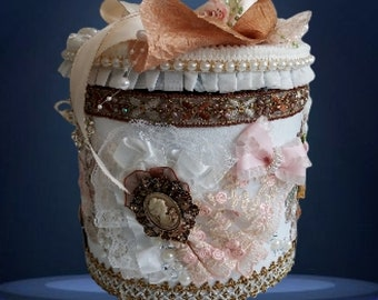 Romantic Ladies'Storage Box, layed inside and outside with beautiful lace, satin and silk flowers. pearl and crystal embelishments.
