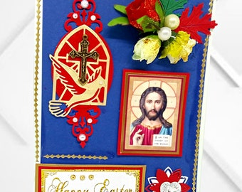 Custom card for believers Stay blessed in the Spirit of God. Special Christian card in marine blue  with Jesus Icon. Gold foil lettering.