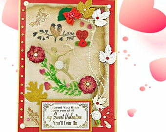 Custom, Love You then Love You still card for Wife, Girlfriend, Fiance. Noble card of love for her in golden red pattern. Personalized card.