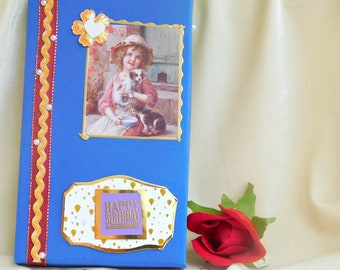 Birthday memory box. Elegant box. Wax stamp box. Birthday gift. Keepsake photo box. Card display. Card storage. Memory photo box.