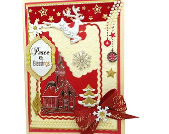 Personalized Peace and Blessings Christmas card. Luxury seasonal card with ribbons, pearls and gold ornaments. Bodo Art Christmas design.