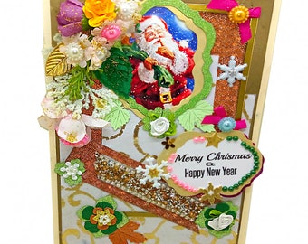 Custom card Merry Christmas and Happy New Year. Luxury, Personalized card with lots of pearls and flowers. Bodo Art special design  cards.