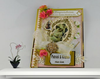 Golden Anniversary Card. Boxed, Luxury card with brooch for Mom and Dad, Couple, Friends. Custom, 50th anniversary gifts. for parents.