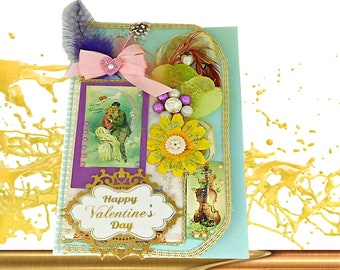 Custom Retro style card Happy Valentines Day. Personalized, romantic card of love with gold wording and luxury box. Multilingual card wife.