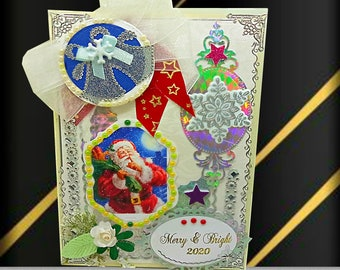 """Luxury, personalized New Year card """"Merry & Bright"""". Custom St Nicolaus card in silver white, with lots of pearls, ribbons and flowers."""