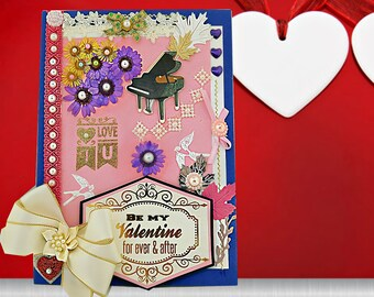 Personalized card of everlasting love with pressed flowers, perals and luxury ribbon. Custom,card  for her. Boxed.