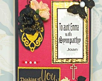 Bereavement custom card, Boxed. Personalized card of Sympathy for Family member, Friends,  Neighbors. Gold foil inside wording.