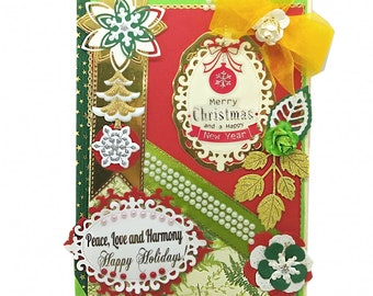 Custom Merry Christmas and Happy New Year Card with gold foil Personalization. Peace, Love and Harmony card for family and friends.