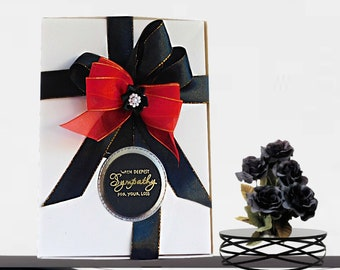 Personalized box for Sympathy cards, Funeral cards, Bereavement support. Elegant, black and white, custom box with golden embossing.