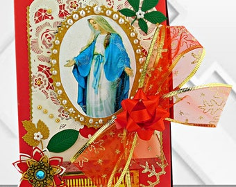Luxury card box for Christian Holidays, Baptism, Confirmation. Red gift box with the Virgin, ribbons and pearls. Personalized, packaging box