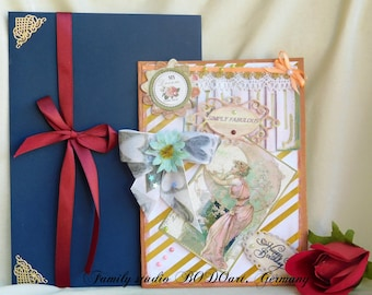"""Romantic Birthday card for Wife, Mom, Sister, Daughter, Girlfriend. Shining Retro card """"Simply Fabulous"""", boxed. Gold foil Personalization."""