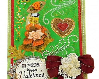 Elegant card with pressed flowers for My Sweetheart. Cute card for her with pearls. BodoArt Spring Design.