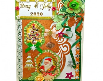 Personalized New Year greeting card for family and friends. Custom Merry and Jolly 2020 card with gold foil wording, pearls and ribbons.