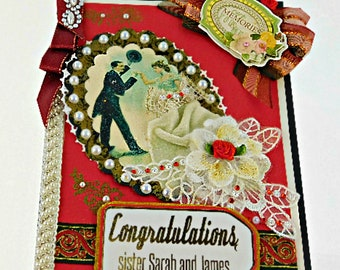 Anniversary card. Elegant, Custom, Milestone wedding day card in ruby red, lace and pearls. Card for Parents, Grandparents, Couple, Friend.
