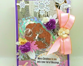 Luxury, Personalized Merry Christmas card with a lot of pearls, flowers and pink ribbon. Custom card for friends and family. Bodo art style.