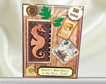 Custom, Milestone Birthday card for men. Retro style Birthday card for The Best Dad with gold wording inside. Personalized card for him.
