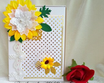Cards box. Sunflowers. Handmade gift box. Birthday gift. Round anniversary. Sentimental gift. Special gift. Flower box.