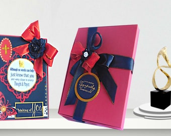 Handmade Condolence card in golden black design on a red background. Thinking of you card for loss of Parent, Grandparent, son. Boxed card.