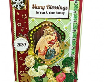 Custom Card of Christmas Blessings for family and friends. Personalized, luxury card with the Godmother, the little Christ and St Nicolaus.