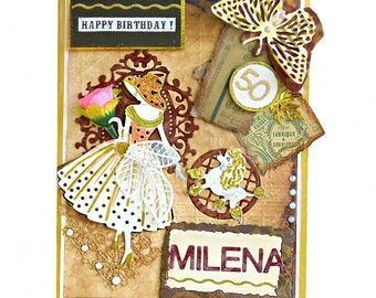 Milestone birthday card. Modern Retro card in fall colors. Personalized card with foil lettering. Card for Mom, Sister, Woman. Boxed card.
