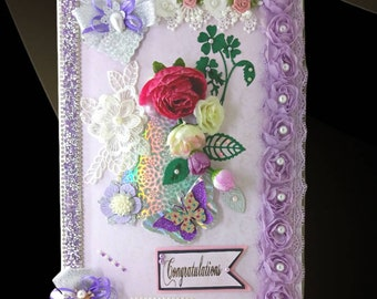 """Personalized Engagement box """"With Love"""". Elegant , purple pattern gift box for a Couple, Fiancee, Bride, Wife, Girlfriend, Partner."""