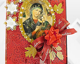 Presentation box for Christian Holidays, Birthdays, Baptism, Confirmation, Communion. Personalized box of the Virgin,trimmed with pearls.