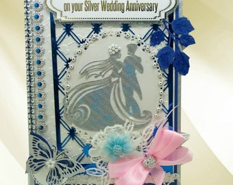 Personalised 25th Wedding day card. Romantic 3D card for parents, friends and beloved family.  Ellegant card with pearls and ribbons.