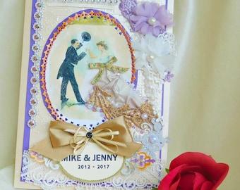 Wedding day card. Wedding anniversary. Wooden Anniversary. 5 anniversary gift. Anniversary gift. Friends wedding day. Bride and groom card.