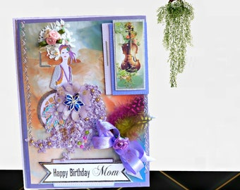 Birthday card. Custom, modern Vintage Birthday greeting for Mom, Wife, Daughter. Personalized card in regal purple. Gold foiled text, boxed.