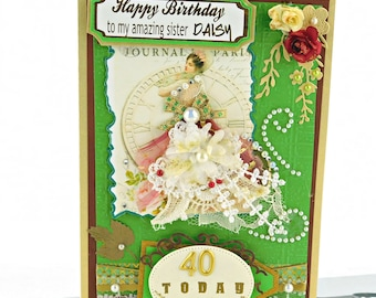 Personalized Birthday card. Custom, Grass Green, Vintage style,  Multilingual 40th Birthday card for Wife, Mom, Daughter, Sister. Boxed.
