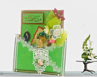 Birthday card for Mom. Modern Vintage card in autumn green. Birthday wishes for Woman. Personalized, Custom card with golden lettering.