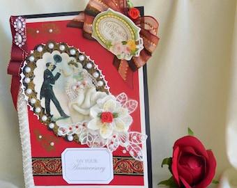 Anniversary card. Wedding day card. Golden Anniversary. Anniversary day card. Anniversary gift .Grandparents gift.