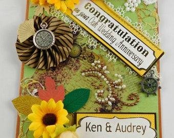 Anniversary cards. Personalized, Autumn Anniversary card for Parents, Grandparents and remarkable couple. Custom card in warm, fall design.