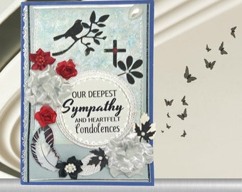 Beautiful, blue-silver, personalized card to express compassion and support for loss of Husband, Son, Brother, family member. Custom card.