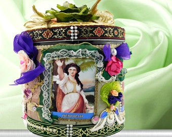 Christening gift. Girl gift box. The brave women of the Old Testament: Deborah,the Judge; Queen Esther, Jael and Sisera, Judith.Baptism gift