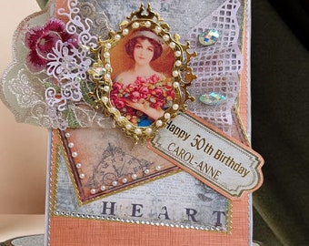Personalised Birthday Card for her. Handmade, Vintage card for Wife, Mom, Sister, Girlfriend. Luxury,, Vintage style 3D card. 50th Birthday.