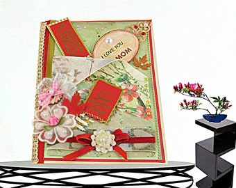 """Personalized Birthday card. Custom card  """"On your special day"""" for Mom, Wife, Girlfriend. BodoArt card in Holland Red and pastel green."""